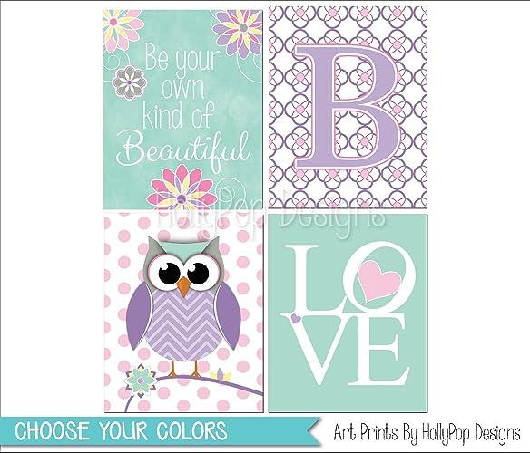Amazoncom Purple Mint Nursery Art Purple Owl Decor Girl Nursery