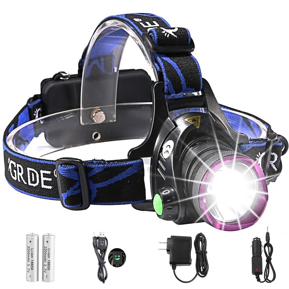 Headlamp,GRDE Rechargeable Led Headlamp Headlight Flashlight 3 Modes with Adjustable Thick Head Strap for Camping Hiking Fishing BBQ Repairing Night Walking Morning Running(Purple)