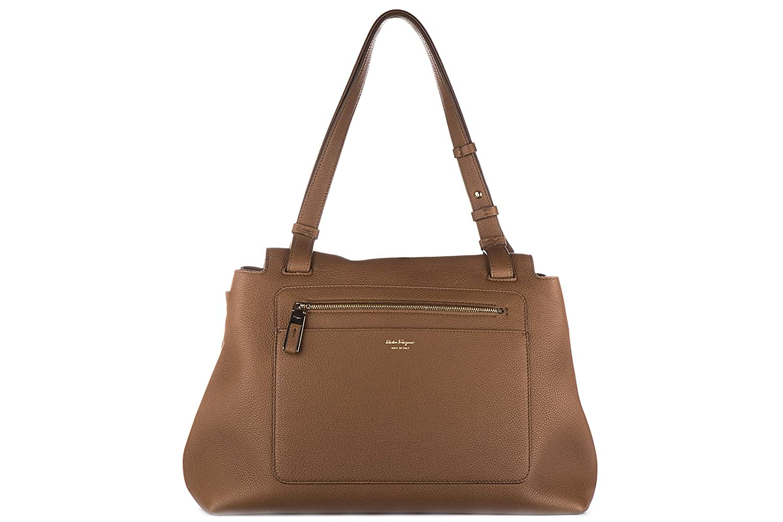 1ae028b5616f Salvatore Ferragamo women s leather handbag shopping bag purse ginger brown   Amazon.co.uk  Shoes   Bags