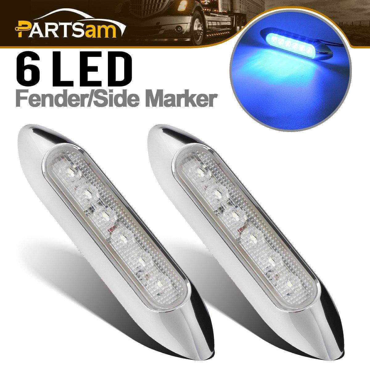 "Partsam 2X Boat Marine 5"" Inch Led Utility Strip Lights Marker 6 Blue LED Sealed Chrome Bezel, Thin Led Courtesy Rock Lights 12V DC"