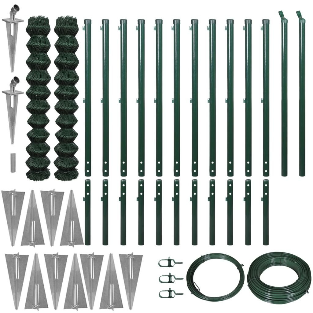 Festnight Chain-Link Garden Fence Set Animal Steel Wire Net Border Green with Anchors Length  25m Height  1.97 m
