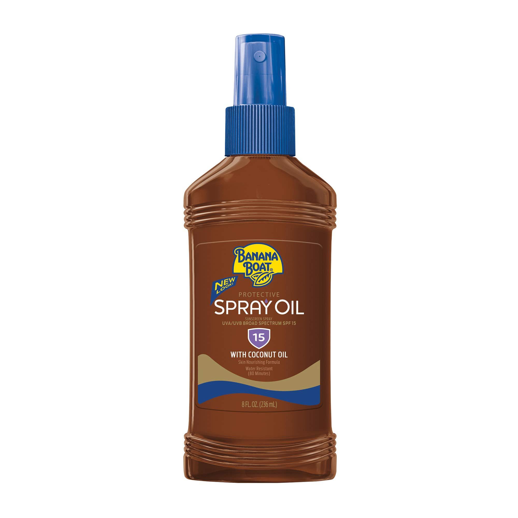 Banana Boat Protective Spray Oil, Sunscreen SPF 15 8 oz (Pack of 2)