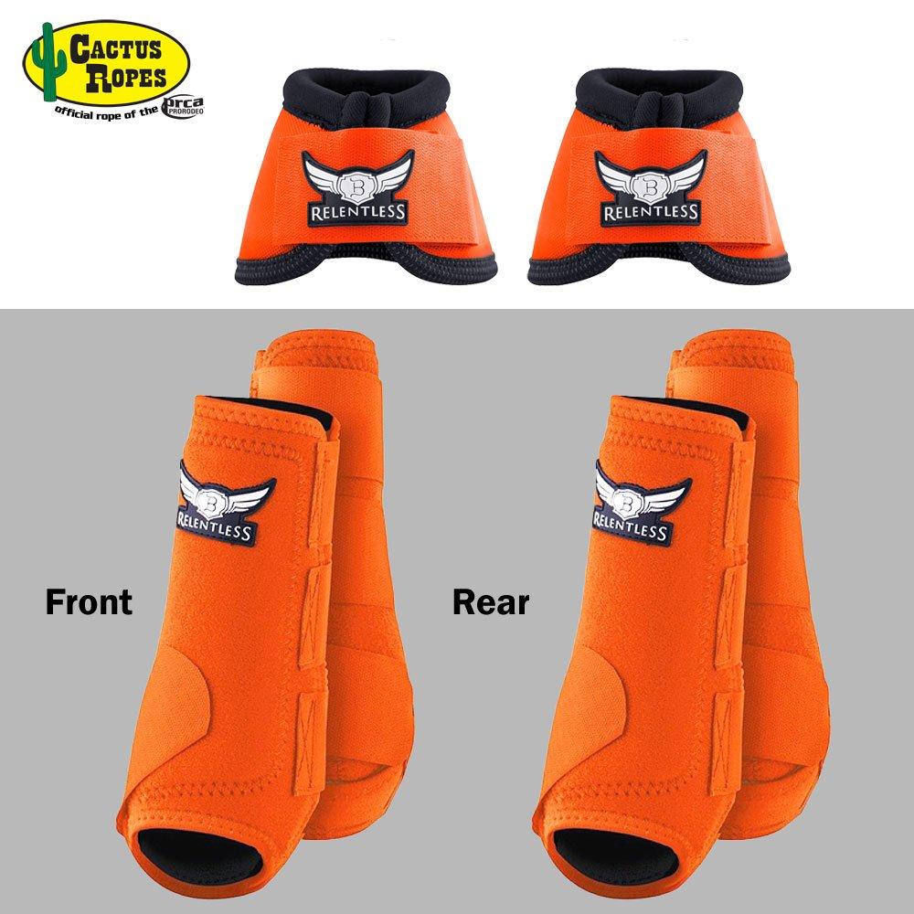 CACTUS ROPES MED Orange Relentless Trevor Brazile Front Rear Sport Bell Boot 6 Pack Horse