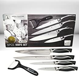 Imperial Collection IM-ABS4 Stainless Steel Classic 5-Piece Chef Knife Set with Ceramic