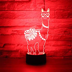 Hguangs Llama Shape Lamp 3D Optical Illusion Night Light Desk Table Light 7 Colors Changing Touch Control Gift for Christmas Birthday Valentine's Day Kids Girl and Boy