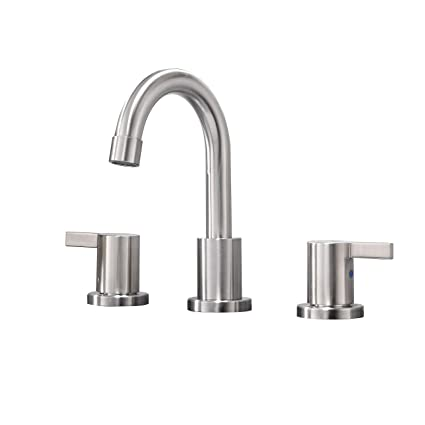 Phiestina Modern Solid Brass Brushed Nickel 8 Inch Lavatory Widespread Bathroom Faucet Bathroom Sink Faucet Without Pop Up Drain