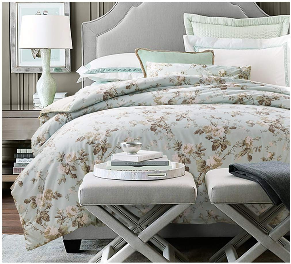 Eikei Home French Country Garden Toile Floral Printed Duvet Quilt Cover Cotton Bedding Set Asian Style Tapestry Pattern Chinoiserie Peony Blossom Tree Branches Multicolored Design (Queen, Light Blue)