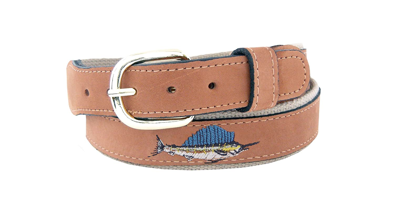 ZEP-PRO Men's Tan Leather Embroidered Sailfish Belt