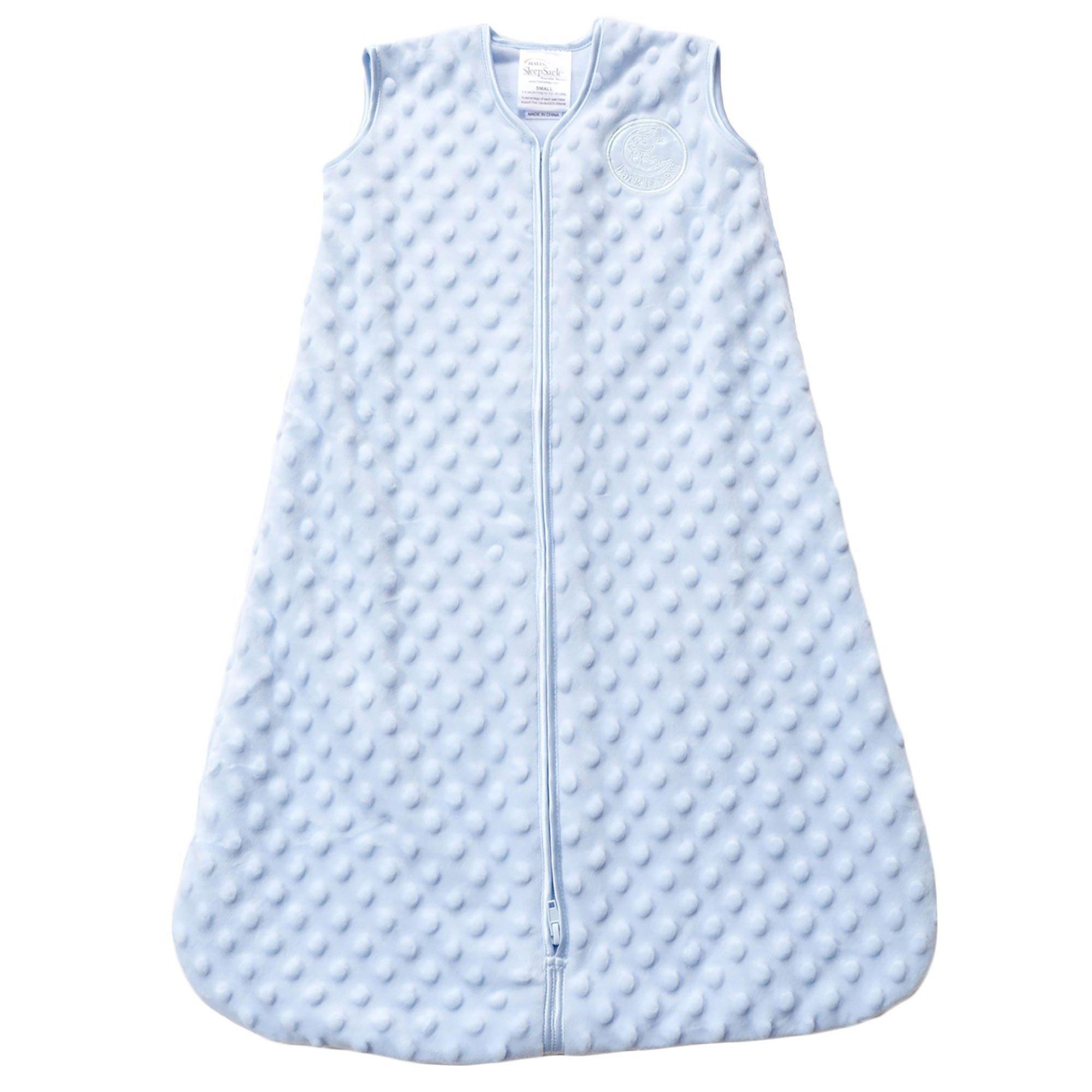 HALO SleepSack Plush Dot Velboa Wearable Blanket, Blue, Medium