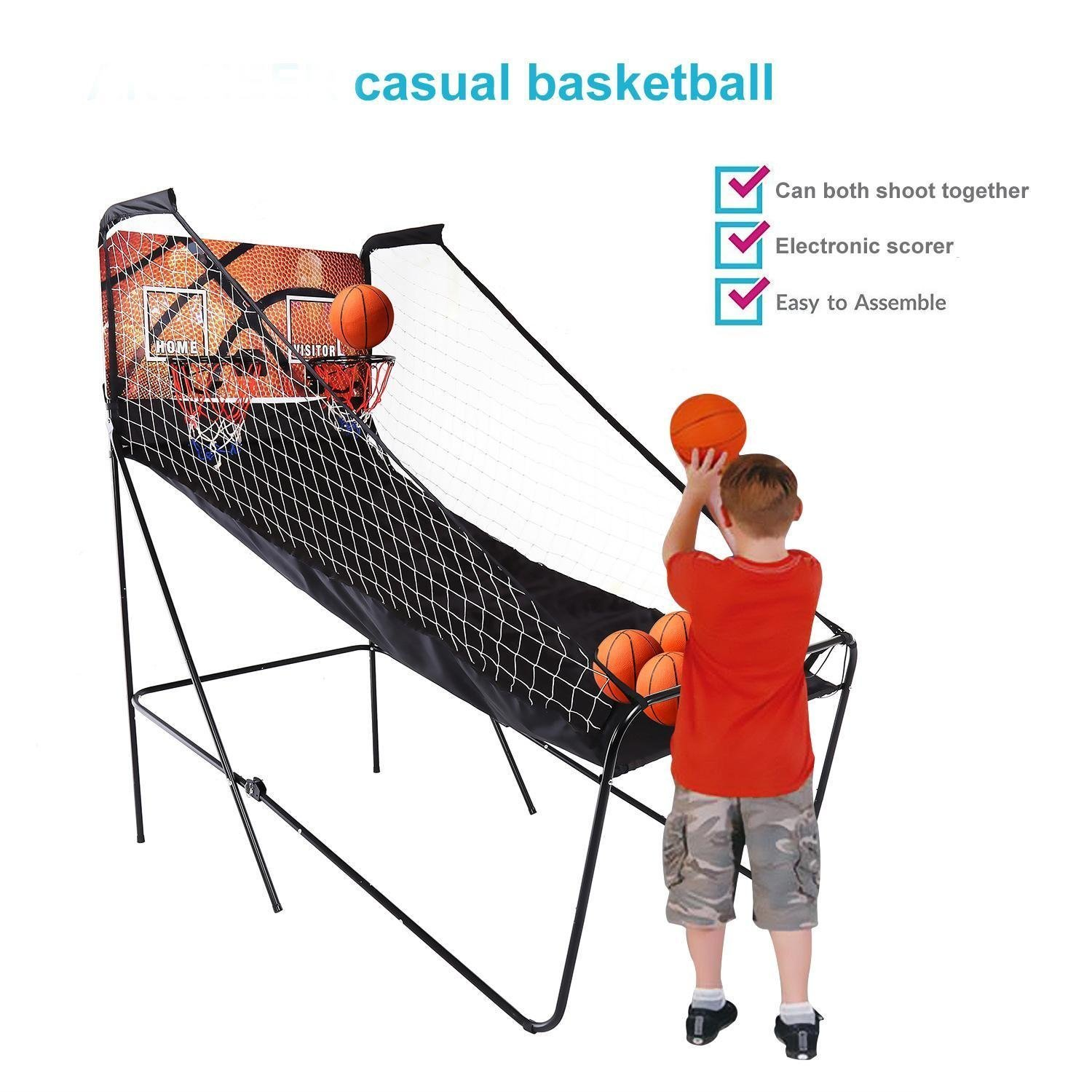 PEATAO Indoor Electronic Basketball Arcade Game 2 Player Double Shot Basketball Stand with 5 Balls(US STOCK) by PEATAO