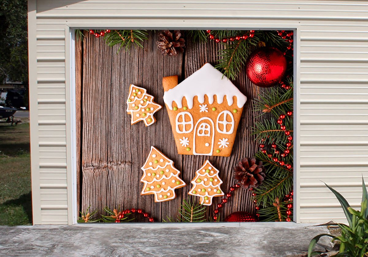 New Year Gingerbread Cookies Full Color for SINGLE CAR GARAGE Holiday Banner DOOR MURALS Covers Outdoor Decor Billboard 3D Effect of House Garage Door Cover Size 83 x 89 inches DAV110 by WallTattooHome
