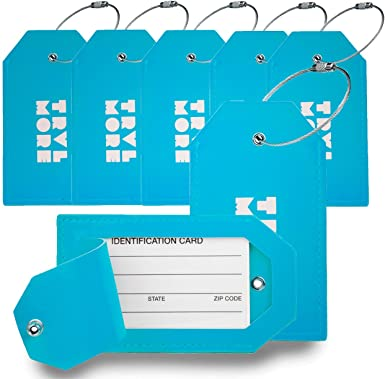 PU Leather Luggage Tag Suitcase Labels Flexible Travel ID Identification Labels Set