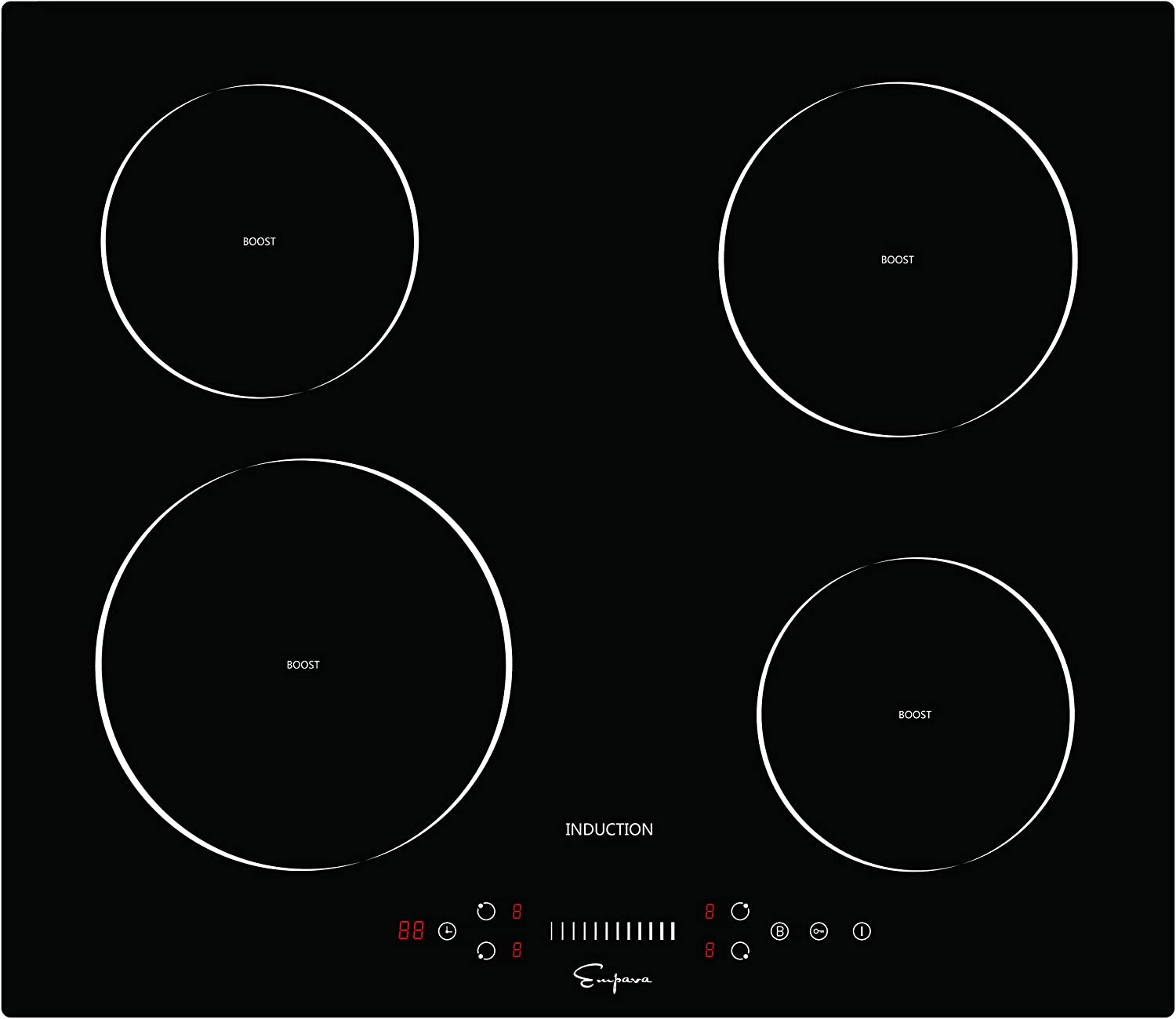 Empava EMPV-IDC24 Electric Induction Cooktop with 4 Booster Burners Smooth Surface Black Tempered Glass 24 Inch