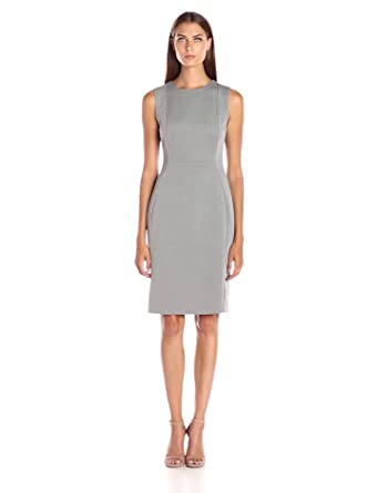 Calvin Klein Women's Seamed Sleeveless Sheath Dress, Grey Heather ...