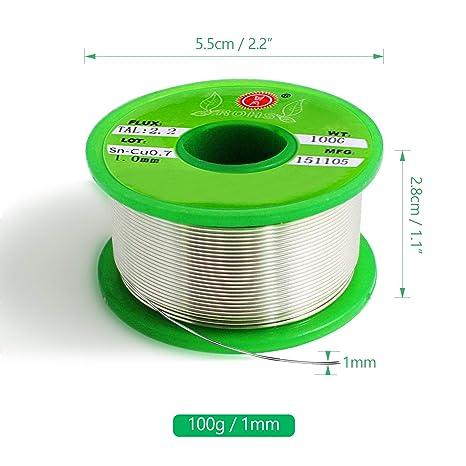 100 g 1 mm Alambre para Soldar Sin Plomo, SANTOO Sn-99.3 Cu-0.7 Colofonia-2 Estaño para soldar Accesorios de Soldadura para Soldadura Eléctrica y Bricolaje: ...
