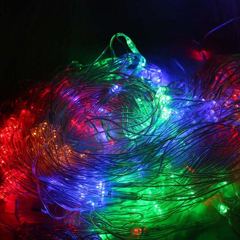 AUFUN LED Lichternetz 3 x 2 m Vorhang Lichter Netz Beleuchtung Deko Weihnachten Net lights Halloween Party oder Stimmung Lichter 320LEDs RGB Hochzeit