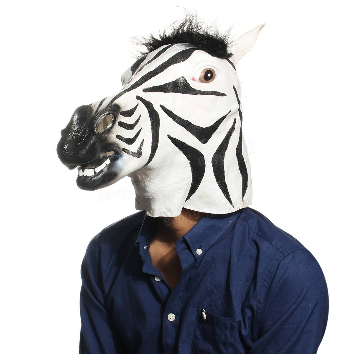 Chief Allhallows Eve - Funny Zebra Latex Head Mask Animal Halloween Costume Festival - Forefront Headspring Word Import OralCaput Teacher School Principal Strait Significant Top - 1PCs