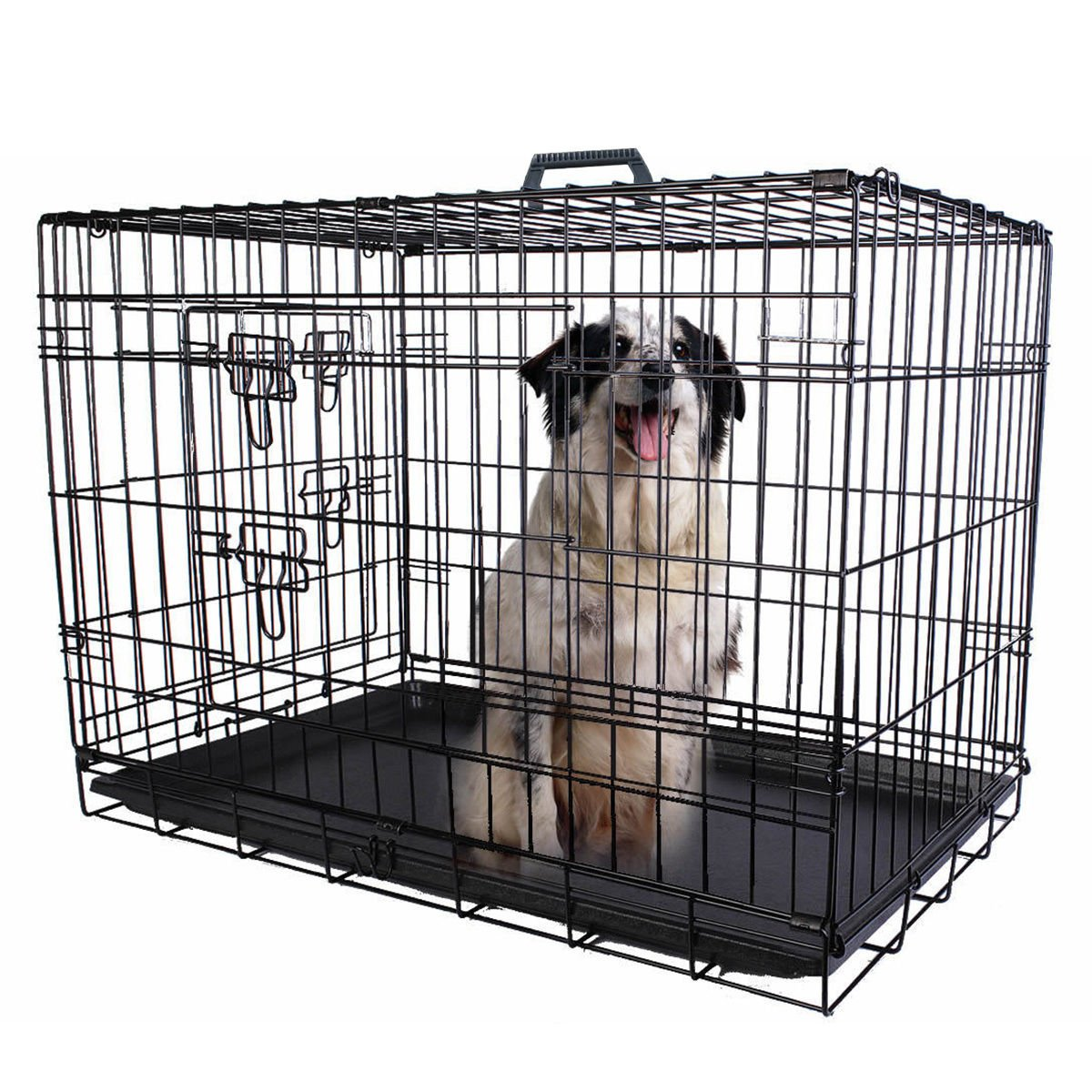 Eaglelnw 36'' 2 Doors Wire Folding Pet Crate Dog Cage Suitcase Kennel Playpen