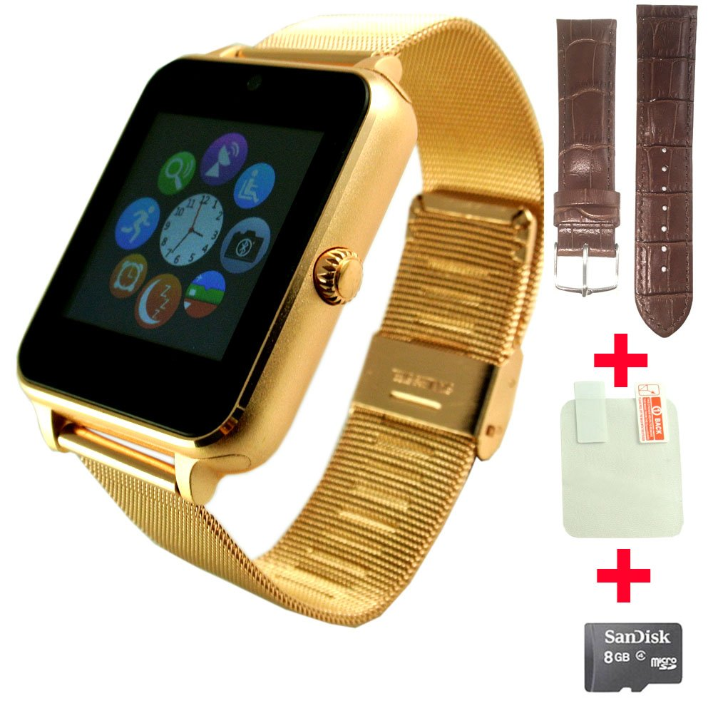 Amazon.com: Fathers day gift OCTelect metal Smart watch SYNC with IOS & Android OS (Gold): Cell Phones & Accessories