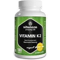 Vitamina K2 certificata, menachinone MK-7 200 µg ad alto dosaggio, 180 compresse adatte alle persone vegane, confezione scorta da 6 mesi, prodotto di qualità privo di magnesio stearato