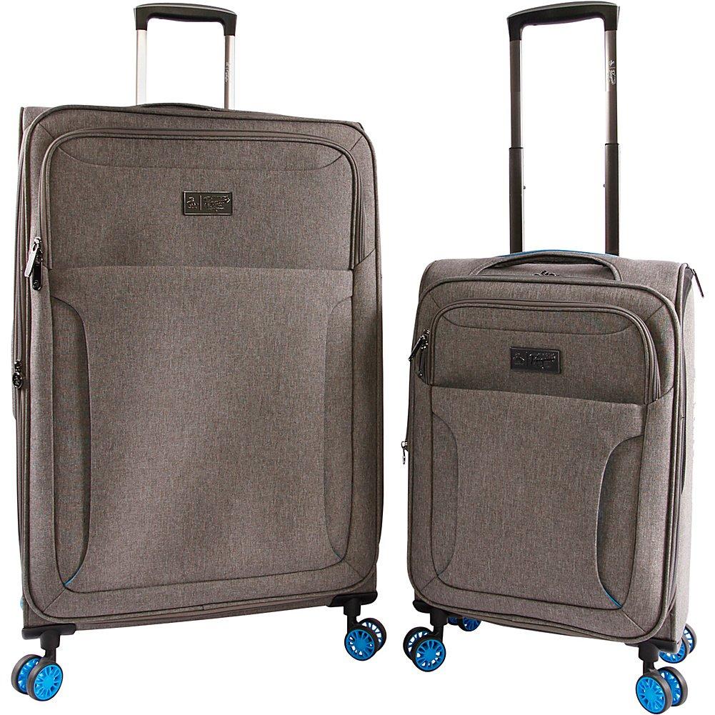 ORIGINAL PENGUIN Luggage Platt 2 Piece Set Expandable Suitcase with Spinner Wheels Grey Crosshatch//Blue OP-EV-2302