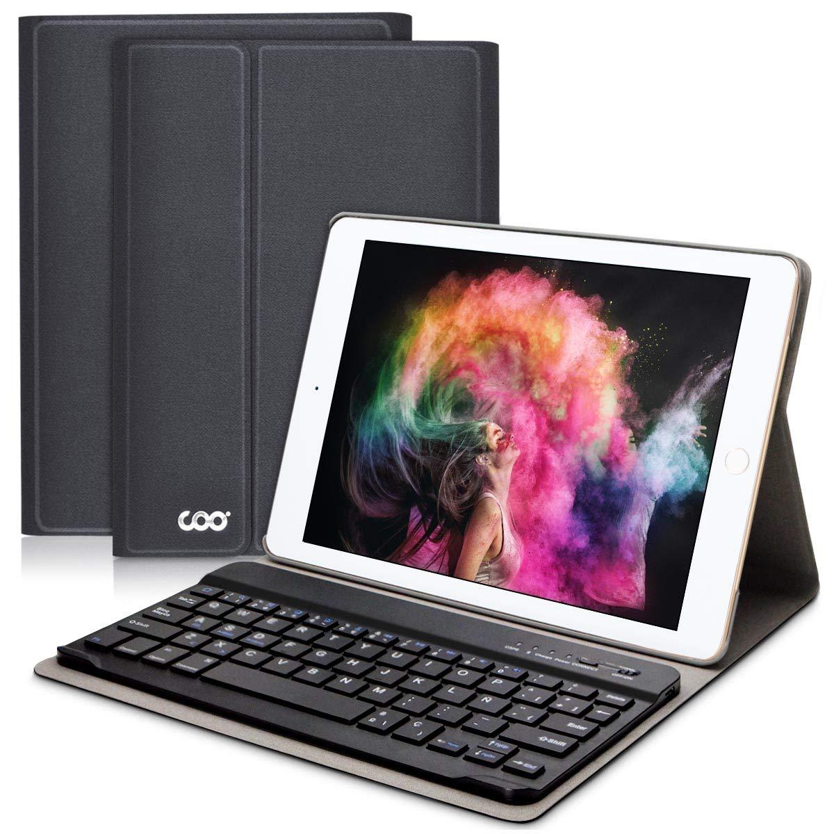 COO Funda con Teclado Español iPad 2018/2017, 9.7 Funda Ultraliviano con Teclado Bluetooth Inalámbrico para iPad Air 2/1, iPad 2018, iPad 2017, ...