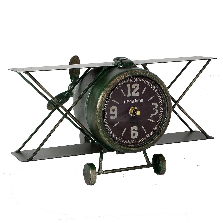 Widdop Hometime Metal Mantel Clock - Aeroplane Arabic Dial