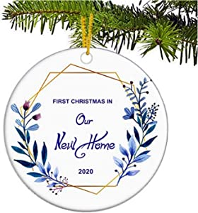 JUPPE Purple Wreath First Christmas in Our New Home 2020 Ornament Xmas Tree Decoration Mr & Mrs Newlywed Romantic Couples Gift (Style-1)