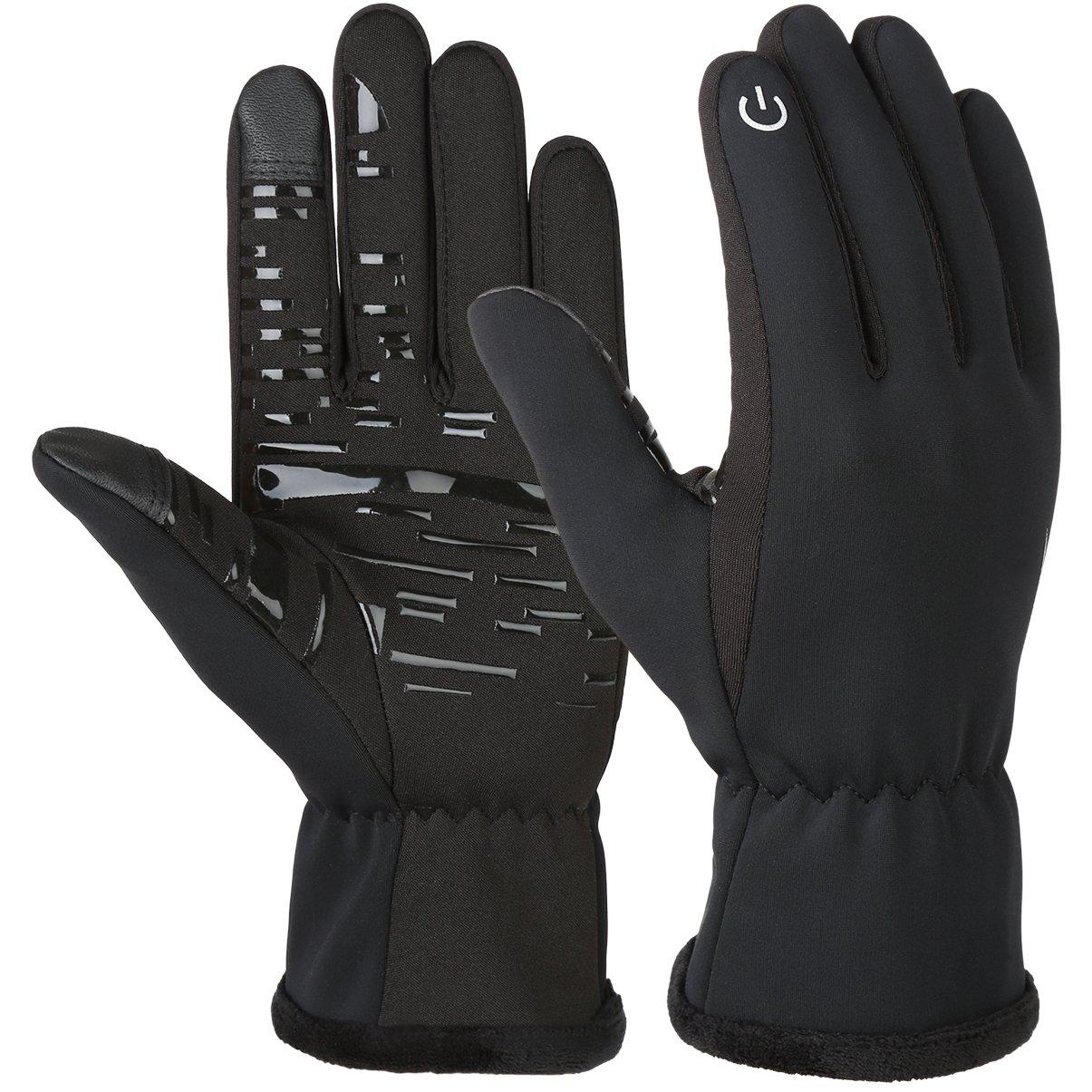 Vbiger Herren Touchscreen Fahrhandschuhe SMS Handschuhe für Frühling Herbst Winter, Gr.-L, Schwarz-2
