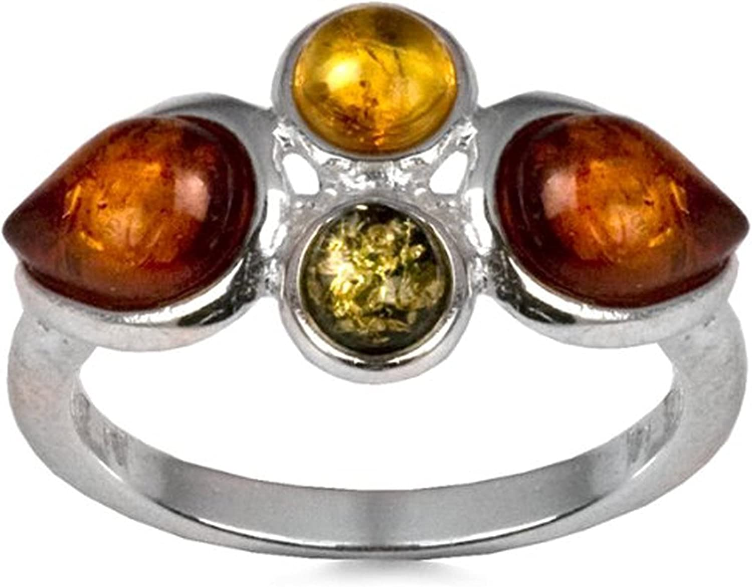 Sterling Silver Baltic Multicolor Amber Classic Ring