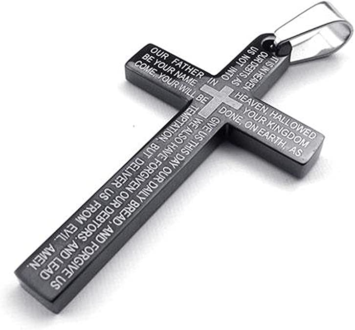 Fancy Jewelry Stainless Steel Mens Lords Prayer Cross Pendant Necklace Silver 18-26 inch Chain