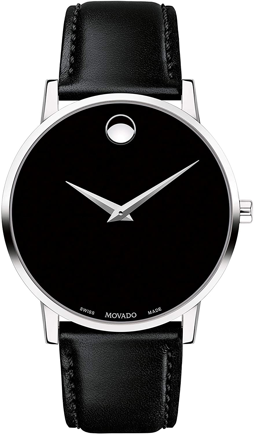 Movado Men s Museum Stainless Steel Watch with Concave Dot Museum Dial, Silver Black Strap 607269