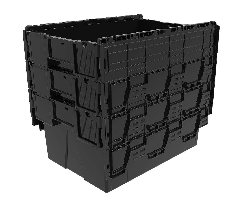 5 x mediante hilos de pesa de 56 litros caja de plástico con tapa - plástico reciclado con orificio en forma de caja organizadora para herramientas con ...