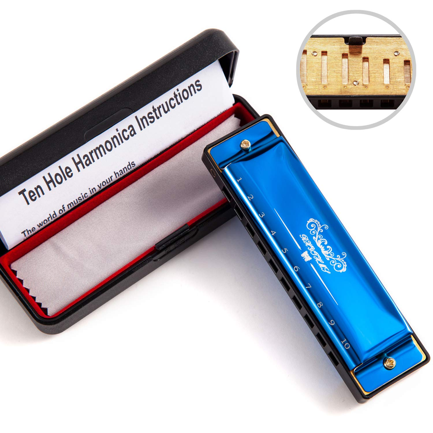 JSL Harmonica, Standard Diatonic Key of C 10 Holes 20 Tones Blues Mouth Organ Harp For Kids, Beginners, Professional, Students (Blues) by jieshiling (Image #2)