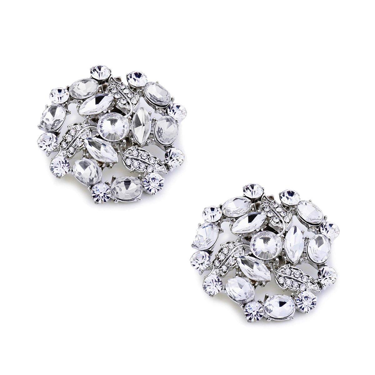 ElegantPark AM Women Rhinestones Decoration Wedding Party Shoe Clips 2 Pcs Silver