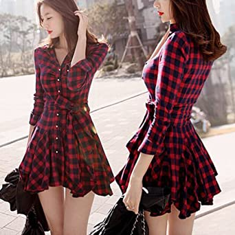 b470e920b3671  ノーブランド品 韓国ファッション レディース チェック柄 ワンピース ショート 女性 春秋ワンピース 長袖