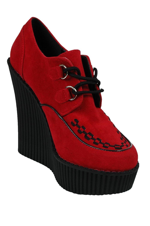 Demonia creeper-302 Damen rot 5 1/10,2 cm D-Ring (13.25 cm) Keil Plattform D-Ring cm Schnür vorne Vegan Creeper W/miteinander verwoben Schürze und Paspeln - f4abcc