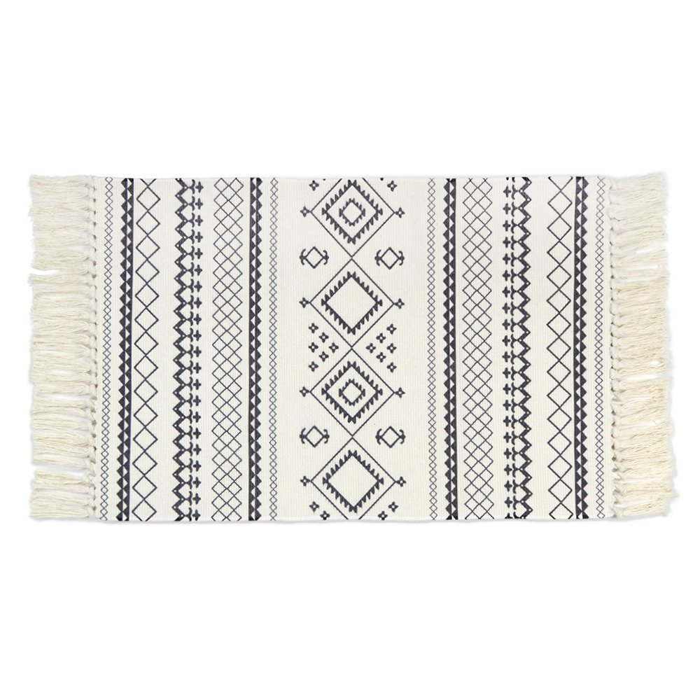 Seavish Cotton Printed Rug, Decorative Black and White Bohemia Kilim Rug Hand Woven Rag Rug Entryway Thin Throw Rug 2x3 for Laundry Room Living Room Dorm