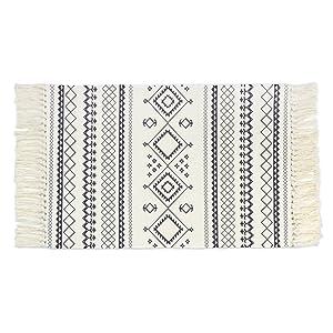 Seavish Cotton Printed Rug, Decorative Black and White Bohemia Kilim Rug Hand Woven Rag Rug Entryway Thin Throw Rug 2x3 for Laundry Room Living Room Dorm