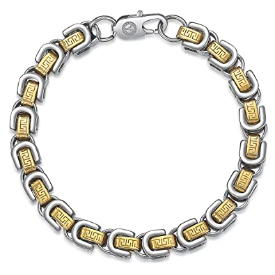 7be2b4063d1d Davieslee 8mm Mens Bracelet Chain Byzantine Box Link Gold Silver Tone  Stainless Steel Custom 8inch