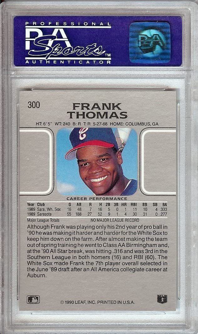 1990 LEAF #300 FRANK THOMAS RC HOF PSA 9 B1618326-722
