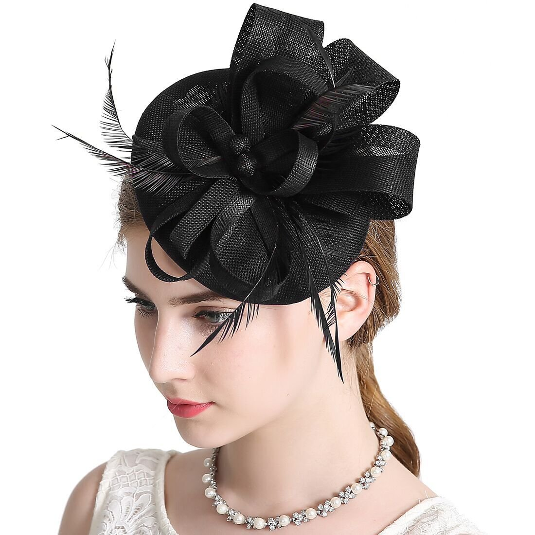 Sinamay Feather Fascinators Womens Pillbox Flower Derby Hat for Cocktail Ball Wedding Church Tea Party Black Color