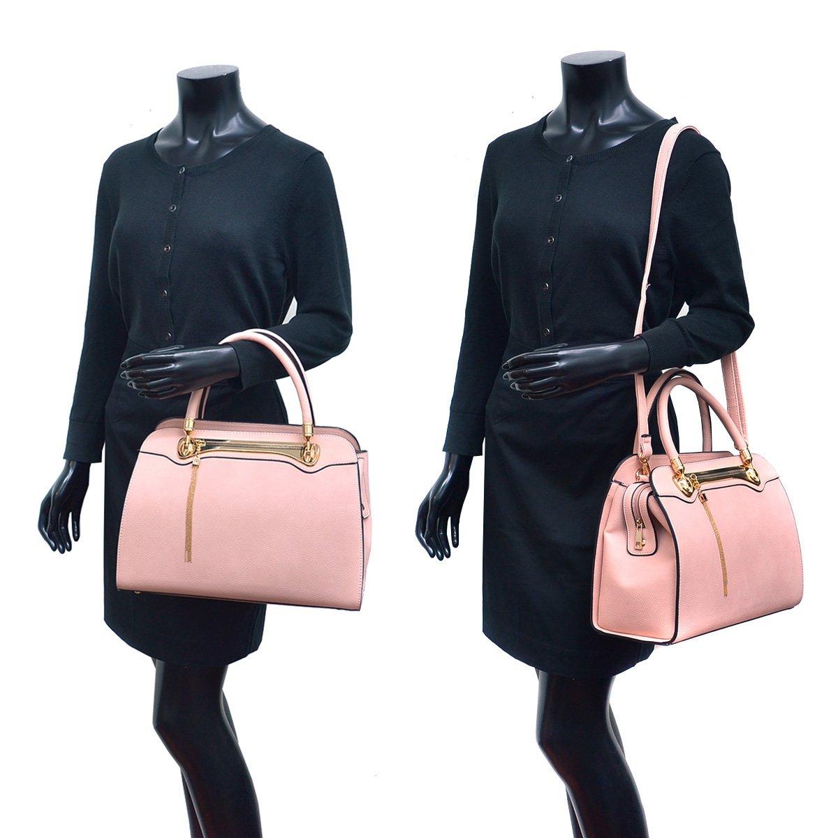 Women Structured Satchel Bags Vegan Leather Handbag Top Handle Purse Fashion Shoulder Bag with Fringed Tassel by Dasein (Image #6)