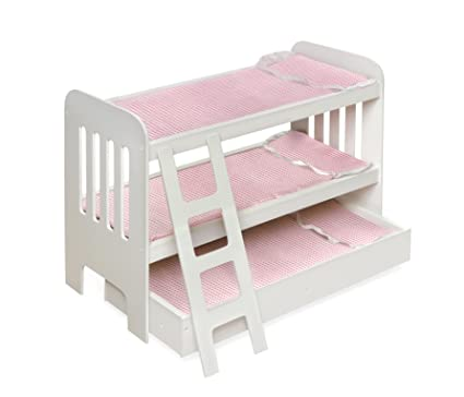 Badger Basket Trundle Doll Bunk Beds with Ladder (fits American