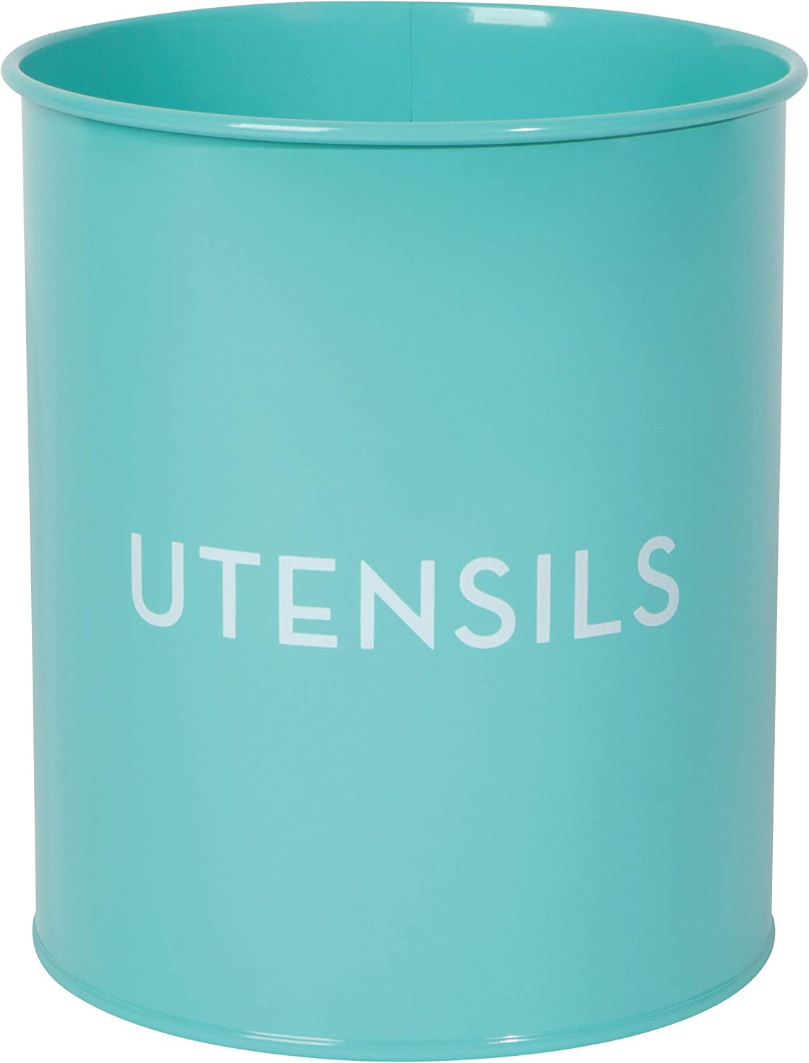 Now Designs Tin Utensil Crock, 5 x 5 x 6, Solid Turquoise