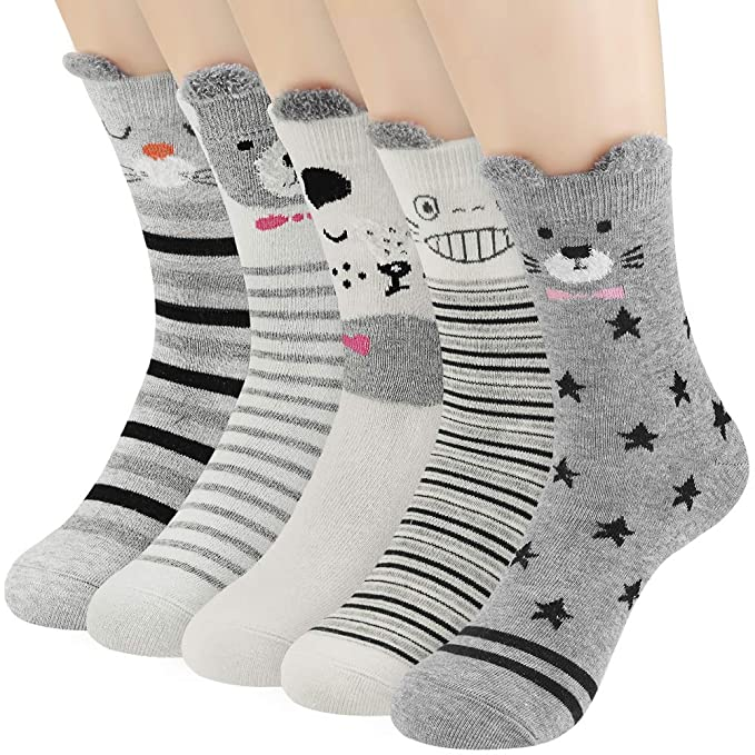 ccb02d3eaf25 Image Unavailable. Image not available for. Color: 5/6 Pairs Women's Casual  Cotton Socks Funny ...