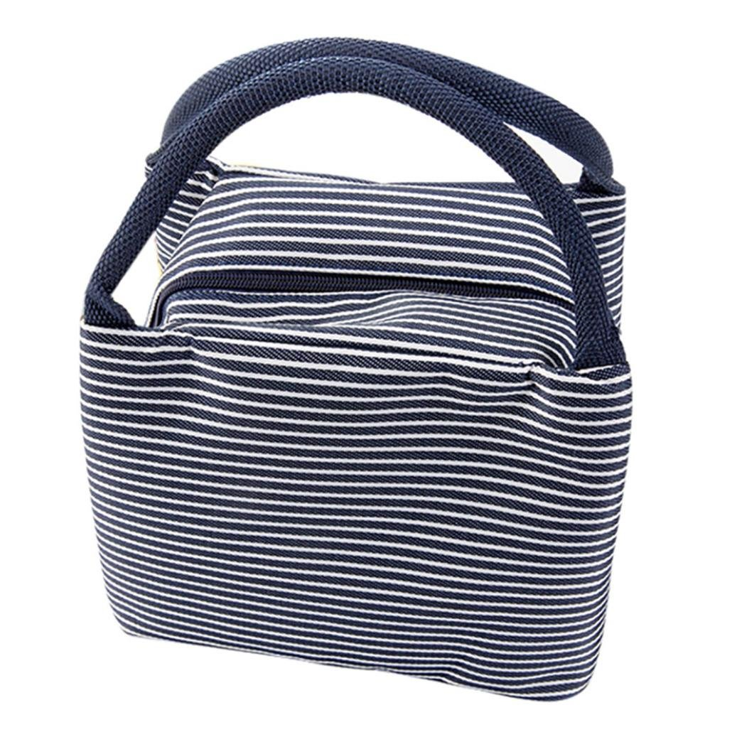 FAPIZI Clearance! Insulation Package Portable Waterproof Canvas Lunch Bags Lunch With Rice Thermal Insulated Lunch Box (Navy)