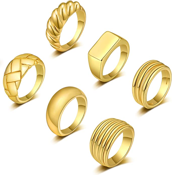 STAINLESS STEEL TWO TONED 14K GOLD ION PLATED DOME FASHION RING WOMENS SIZE 5-10