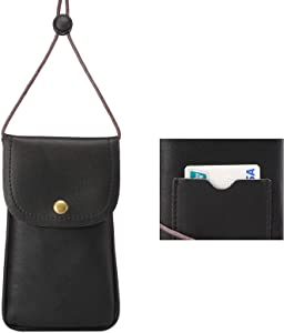 Cell Phone Neck Pouch, Techcircle PU Leather Carrying Bag with Credit Card Holder Adjustable Strap, Small Travel Purse for iPhone Xr Xs Max 8 7 6 Plus, Galaxy S10 S7 Edge J7, Moto G6 (Black)