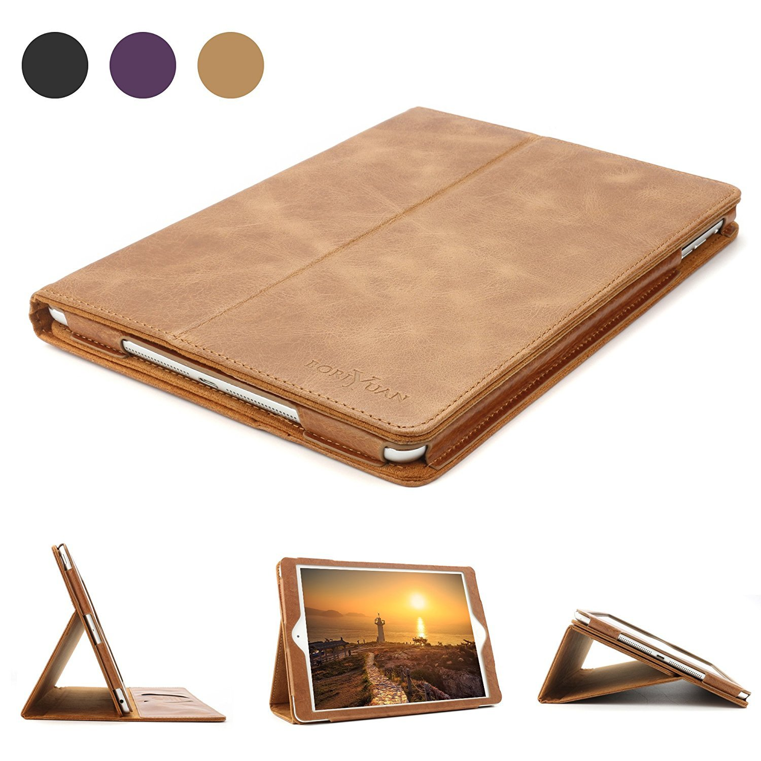iPad 9.7 Leather Case, BoriYuan Vintage Genuine Leather Smart Cover Protective Slim Folio Flip Stand for Apple iPad 9.7 Inch with Card Slot Magnetic Sleep/Wake+Stylus+Screen Protector (Brown)